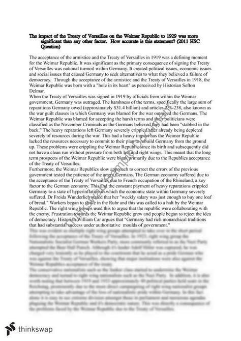 Treaty Of Versailles Essay by Treaty Of Versailles On The Weimar Republic Essay Modern History Year 12 Hsc Modern