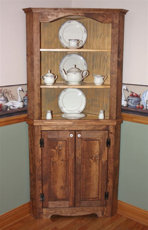 small shabby chic china cabinet hutch curio corner rustic primitive china cabinet