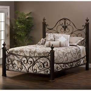 mikelson mixed wood iron bed in aged antique gold