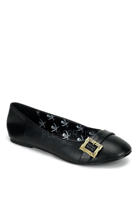 flatshoes skull pairets murah black buckle accent pirate flats faux leather
