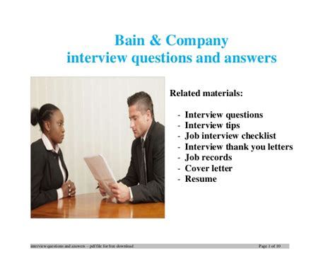 Bain Consulting Mba Internship by Bain Company Questions And Answers