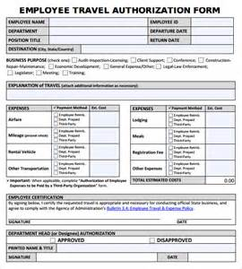 sample travel authorization form 8 download free