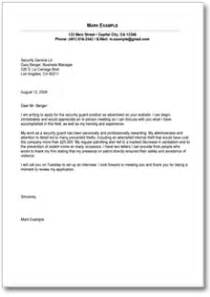 Security Cover Letter by Sle Cover Letter For Security Guard Position Form To
