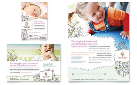 free child care flyer templates babysitting infant care print ad templates child care