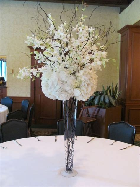 silk wedding flowers centerpieces table decorations with high black vase for wedding artificial flowers for the reception