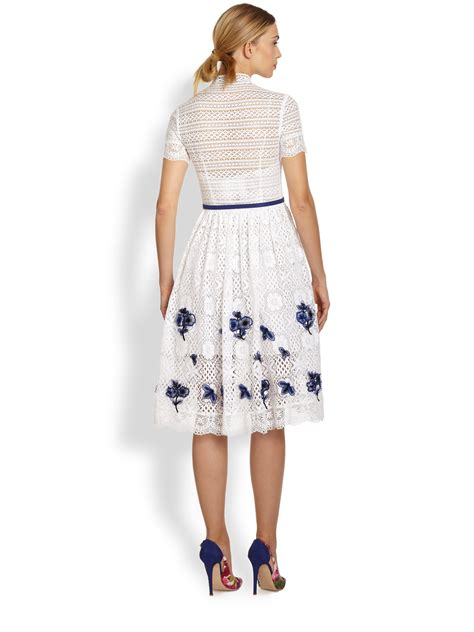 Dress And Fell Navy Floral Lace lyst oscar de la renta lace floral embroidery dress in