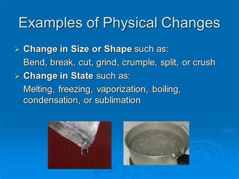 exle of physical change ch 3 matter properties and changes ppt