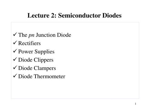 pn junction diode lecture notes ppt lecture 2 semiconductor diodes powerpoint presentation id 635881