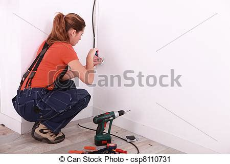 stock photography of installing electricity in