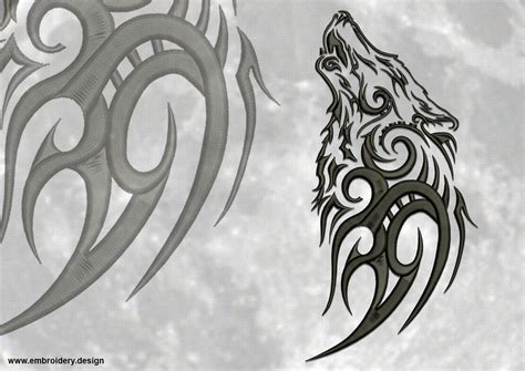 howling wolf tribal tattoo tribal wolves embroidery designs pack collection of 6