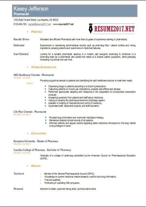 Pharmacist Resume Format by Resume Format For Pharmacy Graduates Resume Template Ideas