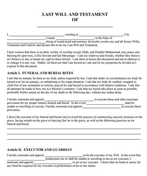 printable last will and testament template sle last will and testament form 9 free exles