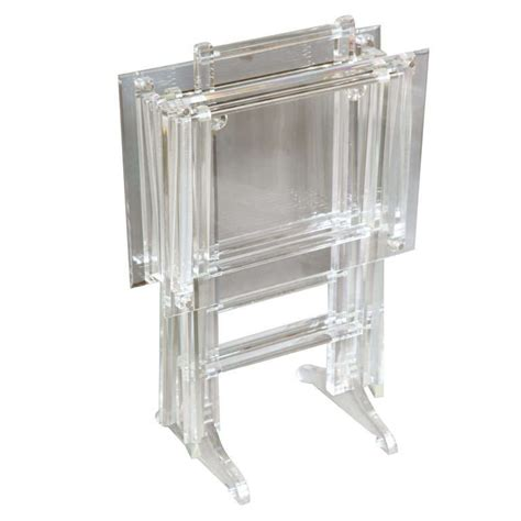 Tray Tables With Stand by Fabulous Set Of Lucite Tray Tables On Stand At 1stdibs