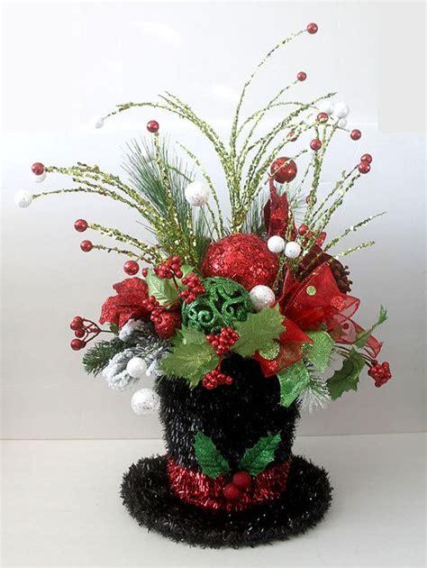 christmas hat floral decor centerpiece snowman hat table d 233 cor arrangement floral arrangement