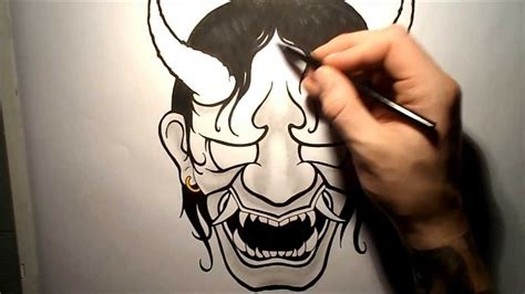 hannya mask tattoo drawing how to draw a hannya mask youtube