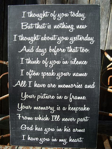 In Memory by Memory Sign Wedding Memory Sign I Thought Of You Today