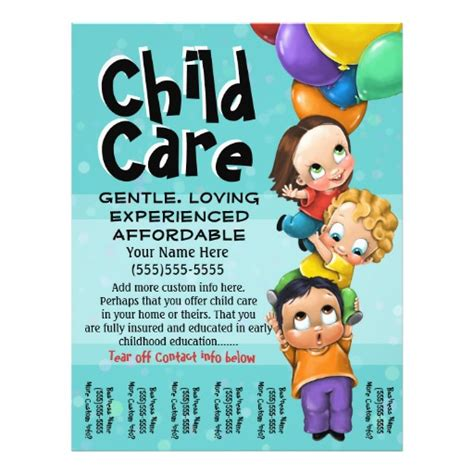child care flyer templates child care babysitting day care tear sheet flyer design