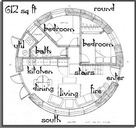 floor plans for round homes straw bale house plan 612 sq ft round