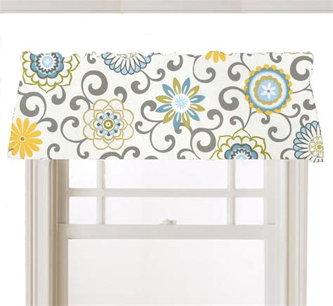 light blue window shades window topper valance mod flowers gray white yellow