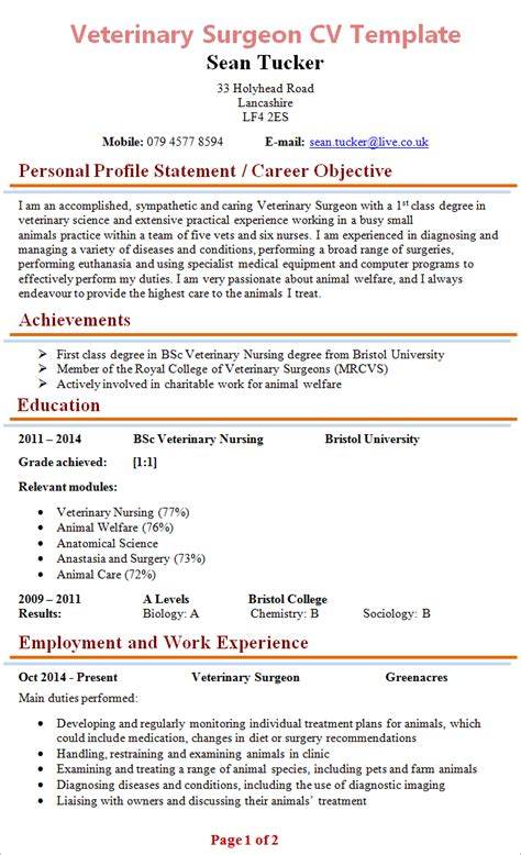 Veterinarian Resume Template by Veterinary Surgeon Cv