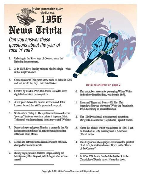 printable news quiz trivia of the year news of 1956 trivia 1 95
