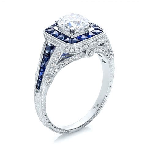 deco engagement rings sapphire deco style blue sapphire halo and engagement 100387 bellevue seattle joseph jewelry