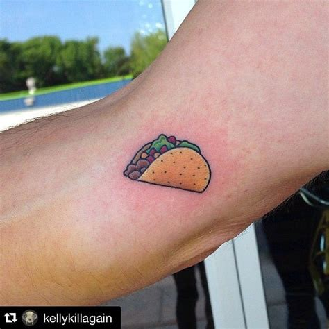 taco tattoo a taco on my left palm a burger on my right dreams
