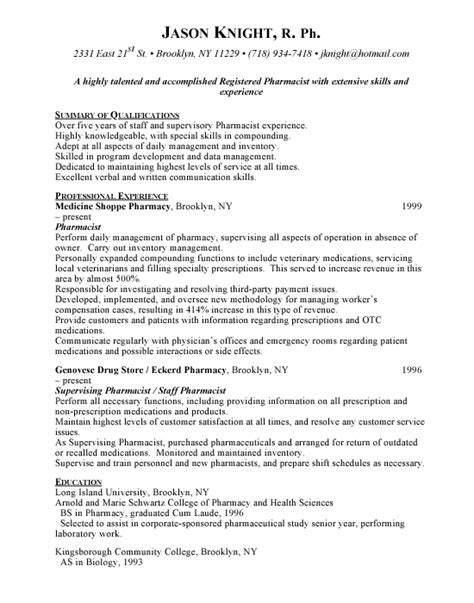 Resume Template Pharmacist by Pharmacist Free Resumes
