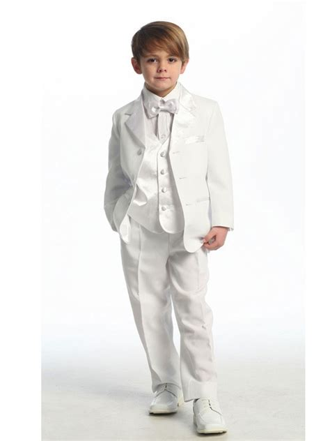 white tuxedo suit for a 1 year old white ring bearer boys tuxedo with vest 5 piece set