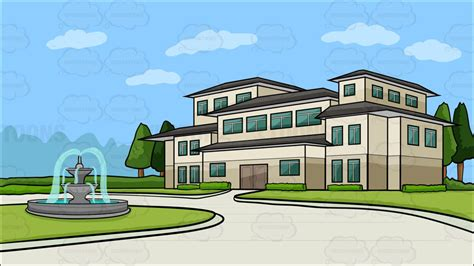 a house with big front porch background cartoon clipart vector toons a mansion with a round driveway background cartoon clipart