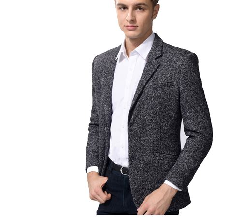 grey blazer in style dongkuan thick wool high end dark gray blazer