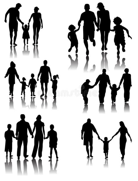 Family Silhouettes . Vector Stock Vector - Illustration of