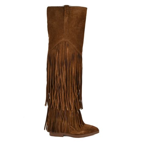 the gipsy ter thigh high suede boots in brown are