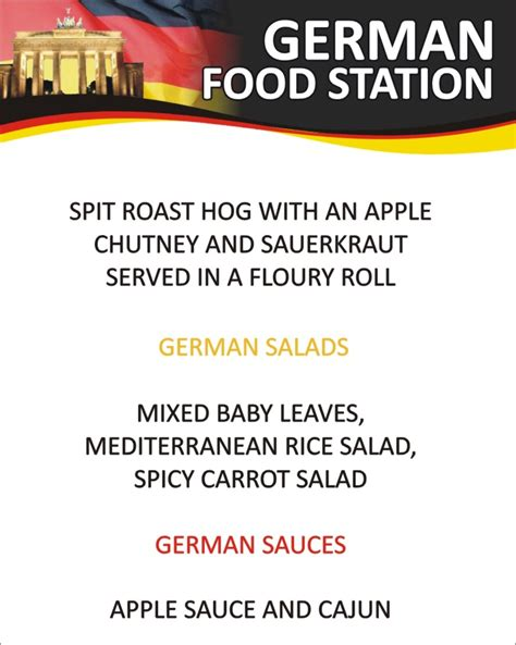 Germany Food Station Menu   Wedding caterers Ireland