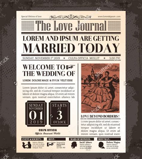 themes for a newspaper wedding newspaper templates 7 word pdf psd indesign