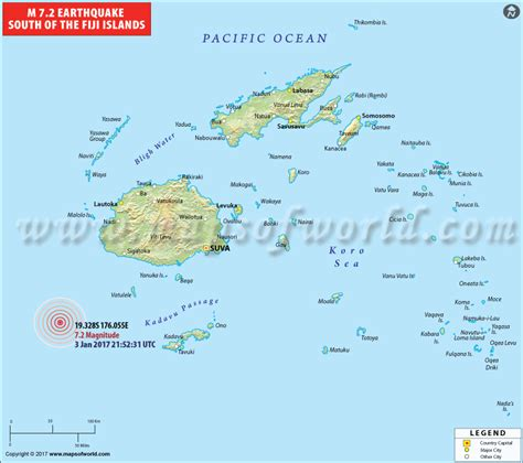 map of fiji earthquakes in fiji areas affected by earthquakes in fiji