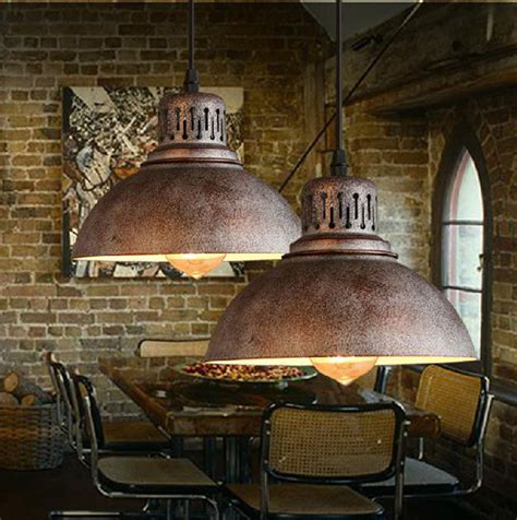 Industrial Type Light Fixtures Ac100 240v D23cm Rustic Metal Lshade E27 Pendant Light Modern Decor Nordic Retro Bedroom L