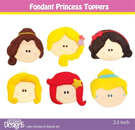 12 fondant princess toppers for cupcakes or cookies 20 00 via etsy ideas