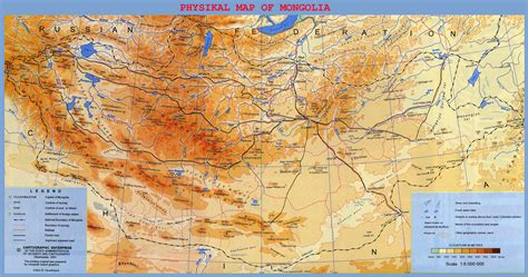 mongolia map large detailed physical map of mongolia mongolia large detailed physical map vidiani