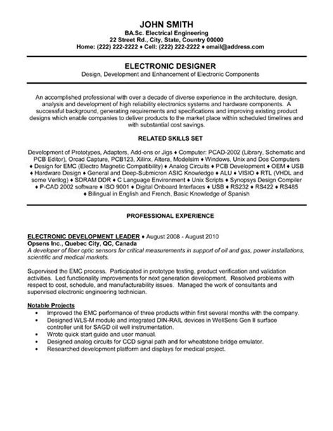 Electronics Engineering Resume Sles by 42 Best Images About Best Engineering Resume Templates Sles On Engineering