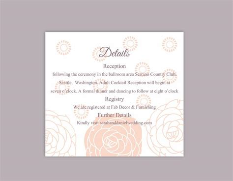 details cards of wedding template diy wedding details card template editable word file