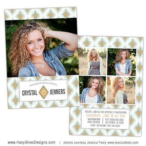 senior graduation announcement photo card template for