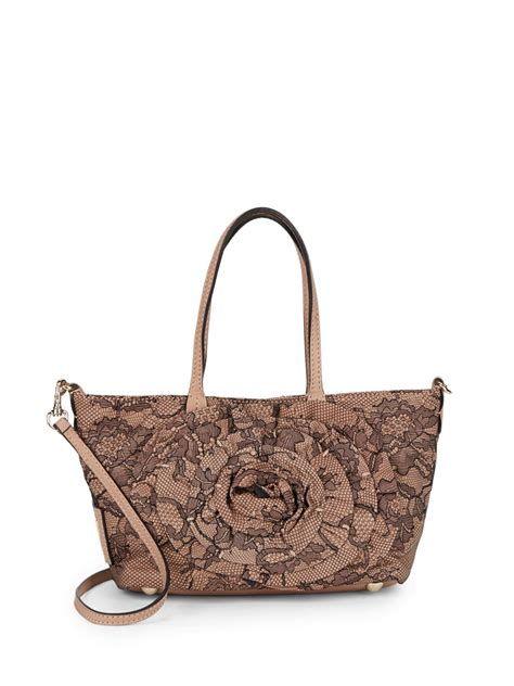 Lace Bag lyst valentino lace leather tote bag in brown