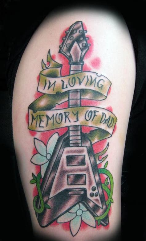 traditional guitar tattoo picture
