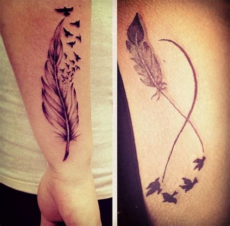 infinity feather tattoo flying birds and infinity on side