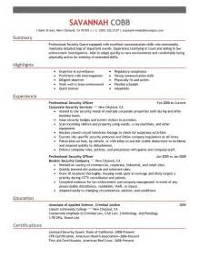 Security Resume Exles And Sles by Security Officer Resume Exles