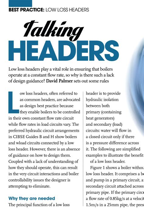 low loss header design guide best practice low loss headers cibse journal february 2014