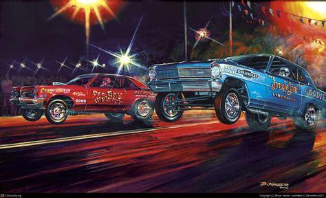 painting racing cars 1960s drag race by bruce kaiser 2d cgsociety