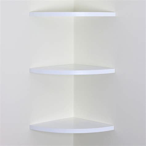 white wood curved radial floating corner wall shelf unit three set of 3 shelves ebay