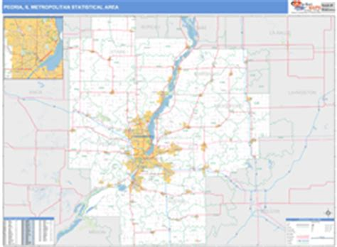 zip code map peoria il peoria il metro area wall map basic style by marketmaps